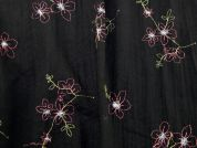 Embroidered Polyester & Cotton Voile Dress Fabric  Black