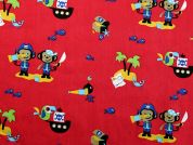 Pirate Print Cotton Dress Fabric  Red