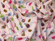 Ice Cream Print Polycotton Dress Fabric  Pink