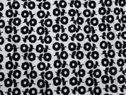 Floral Print Cotton Lawn Dress Fabric  Black & White