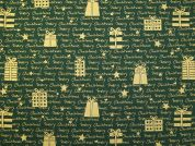 Metallic Merry Christmas & Presents Print Cotton Fabric  Bottle Green & Gold