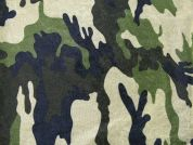 Camouflage Print Velour Fabric  Green