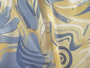 Abstract Print Polyester Crepe Dress Fabric  Cream & Blue