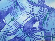 Abstract Print Polyester Crepe Dress Fabric  Blue
