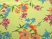 Floral Print Polyester Crepe Dress Fabric  Lime Green