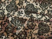Floral Lace Print Cotton Sateen Dress Fabric  Brown & Khaki