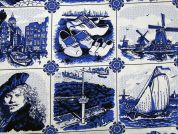 Dutch Theme Print Cotton Dress Fabric  Blue & White