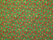 Fruits Print Cotton Dress Fabric  Green & Red