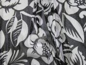 Floral Lurex Print Stretch Mesh Dress Fabric  Black & Silver