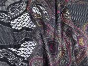 Paisley Print Stretch Satin Dress Fabric  Multicoloured