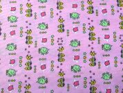 Elephants & Chicks Print Pique Fabric  Pink