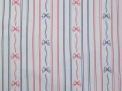 Bows & Stripes Print Polyester Lining Fabric  Red, White & Blue