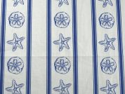Nautical Stripe Print Cotton Dress Fabric  Royal Blue & White