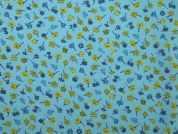 Floral Print Polyester Crepe Dress Fabric  Turquoise