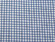 Polyester, Viscose & Lycra Stretch Gingham Dress Fabric  Sky Blue