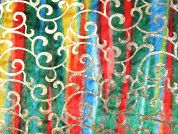 Foil Swirl Print Rainbow Velour Fabric  Multicoloured