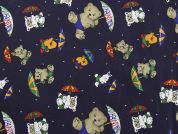 Teddy Bear Print Cotton Dress Fabric  Navy Blue