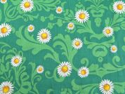 Floral Print Cotton Dress Fabric  Green
