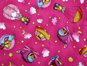 Rooster Print Cotton Dress Fabric  Pink