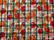 Floral Check Print Polycotton Fabric  Orange & Red