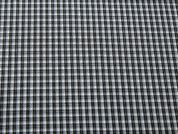 Plaid Check Print Seersucker Cotton Dress Fabric  Blue & Grey
