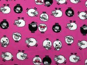 Sheep Print Cotton Dress Fabric  Pink