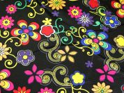 Small Flower Power Print Satin Dress Fabric  Multicoloured