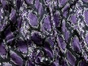 Snakeskin Print Velour Knit Dress Fabric  Purple