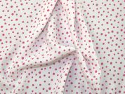 Spotty Print Polyester Microfibre Dress Fabric  Pink & White