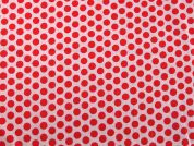 Spotty Print Cotton Dress Fabric  Red on Pink