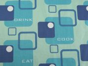 East, Drink, Cook Print Cotton Drill Fabric  Turquoise