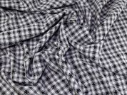 Stitched Plaid Check Poly Cotton Blend Dress Fabric  Black & White