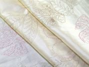 Embroidered Floral Taffeta Dress Fabric  Cream