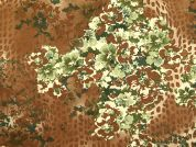 Floral Print Stretch Cotton Dress Fabric  Brown & Green