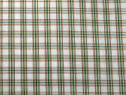 Plaid Check Print Stretch Drill Fabric  Green & Orange