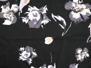 Floral Print Stretch Cotton Dress Fabric  Black