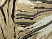 Abstract Print Stretch Cotton Drill Fabric  Beige