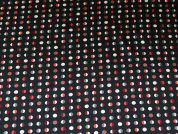 Spotty Print Stretch Satin Dress Fabric  Black