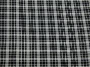 Tartan Check Print Stretch Poly Crepe Dress Fabric  Black & White