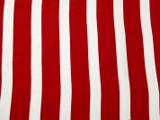 Stripe Print Polyester Georgette Dress Fabric  Red & White