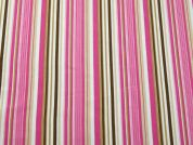 Stripe Print Polyester Crepe Dress Fabric  Pink