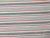 Stripe Print Cotton Lawn Fabric  Ivory & Red