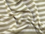 Stripey Print Stretch Jersey Dress Fabric  Beige & Ivory