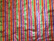 Novelty Stripe Lame Metallic Fabric  Multicoloured