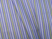 Woven Stripe Polycotton Shirting Dress Fabric  Blue & Lime