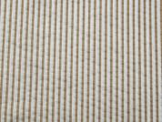 Stripe Print Seersucker Cotton Dress Fabric  Beige