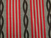 Large Stripe Cotton Blend Coating Fabric  Red & Brown