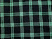 Tartan Plaid Check Polyester Suiting Dress Fabric  Black & Green