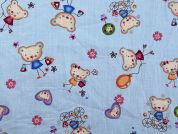 Teddy Bear Print Cotton Dress Fabric  Sky Blue