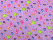 Time for Tea Print Cotton Dress Fabric  Pink